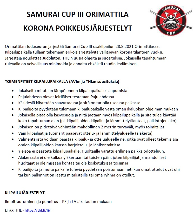 Samurai cup 3 - koronatiedote